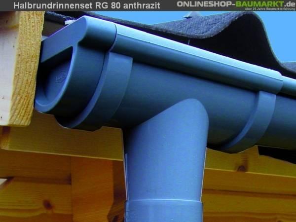Dachrinnen Set RG 80 Ergänzungsset für Anbau anthr