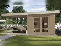 Weka Gartenhaus 126 B Plus Gr. 2 natur mit Anbaudach 300 cm