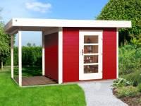 Weka Gartenhaus 172 Größe 1 in schwedenrot mit Anbaudach 150 cm