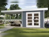 Weka Gartenhaus 126 B Plus Gr. 2 grau mit Anbaudach 300 cm