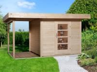 Weka Gartenhaus 172 Größe 1 natur mit Anbaudach 150 cm