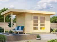 Weka Gartenhaus 126 Plus Gr. 2 natur mit Anbaudach 150 cm