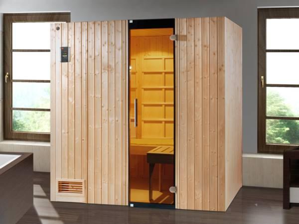 Weka Infrarot-Sauna-Kombikabine Uppsala mit Flächenstrahlern und Saunaofen 3,6 kW