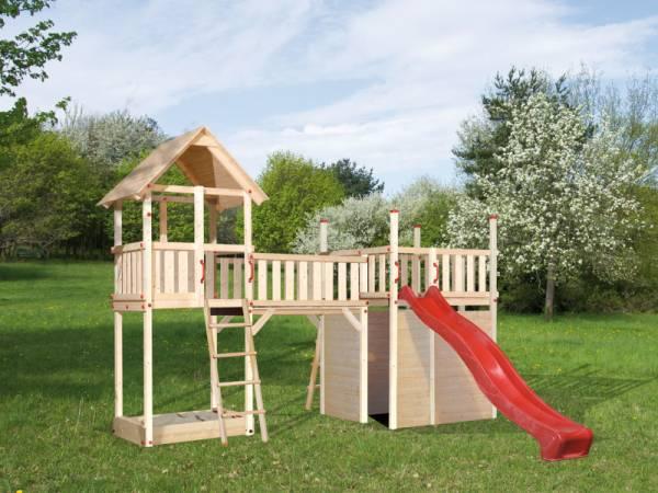 Weka Kinderspielturm Tabaluga mit Satteldach inkl. Anbauschaukel, Nestschaukel und Sandkasten