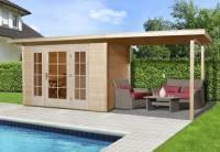 Weka Gartenhaus wekaLine 172 Größe 2 natur E-Glastür und 2 Fensterpaneele Anhang 300 cm