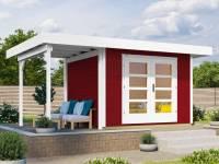Weka Gartenhaus 126 Gr. 1 in schwedenrot mit Anbaudach 150 cm