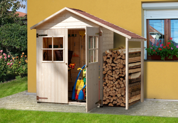 Weka Terrassenschrank mit Satteldach und Doppeltür inkl. Schleppdach