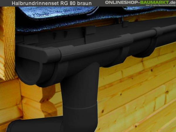 Dachrinnen Set RG 80 braun 200 cm zweiseitig