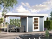 Weka Gartenhaus 172 Größe 1 in grau mit Anbaudach 300 cm