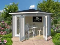 Weka 5-Eck Gartenhaus 408 hellgrau 40 mm