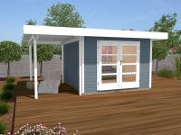 Weka Gartenhaus 126 Plus Gr. 1 mit Anbaudach 150 cm grau