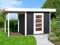 Weka Gartenhaus 172 Größe 1 in anthrazit mit Anbaudach 150 cm