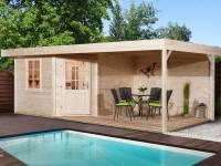 Weka Saunahaus Salo 2 natur mit 300 cm Lounge