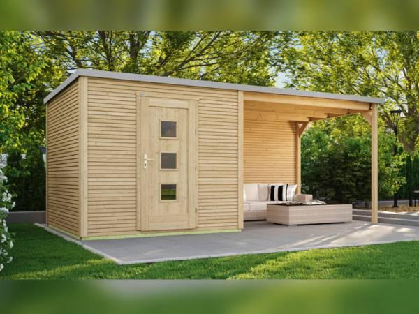 Weka Gartenhaus 413 B Gr 1 natur mit Anbau 300 cm