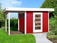Weka Gartenhaus 172 Größe 2 in schwedenrot mit Anbaudach 150 cm