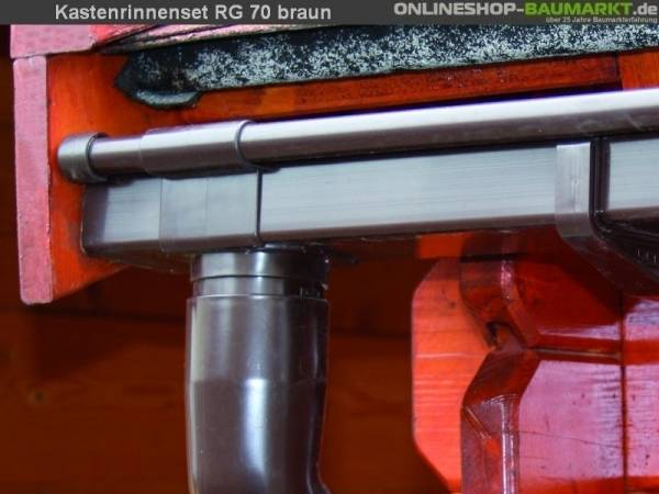 Dachrinnen Set RG 70 braun 300 cm Pultdach