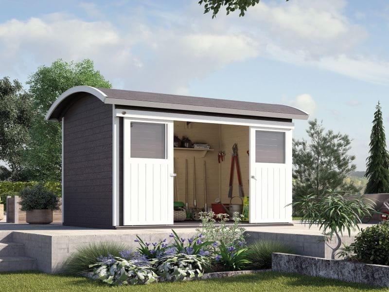 weka gartenhaus 228 anthrazit 21 mm sch nes runddach gartenhaus mit doppelter schiebet r und. Black Bedroom Furniture Sets. Home Design Ideas
