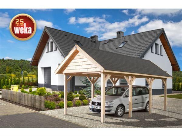 Weka Leimholz-Satteldach-Einzelcarport 614 Gr. 1