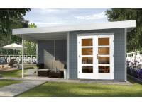 Weka Gartenhaus 126 Gr. 2 in grau mit Anbaudach 300 cm