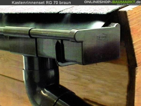 Dachrinnen Set RG 70 Ergänzungsset 210A für Anbau braun - Typ A