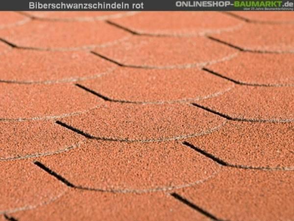 Bitumen-Dachschindeln Biberschwanz rot