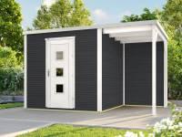 Weka Gartenhaus wekaLine 413 A Gr 1 anthrazit mit Anbau 150 cm