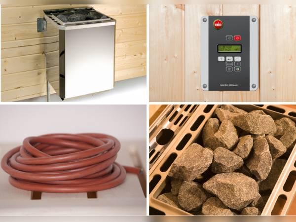 Weka Technikpaket 1 für Saunahaus Serie 533 mit 9kW Ofen OS, Steuerung, Kabel