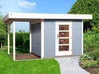 Weka Gartenhaus 172 Größe 1 in grau mit Anbaudach 150 cm