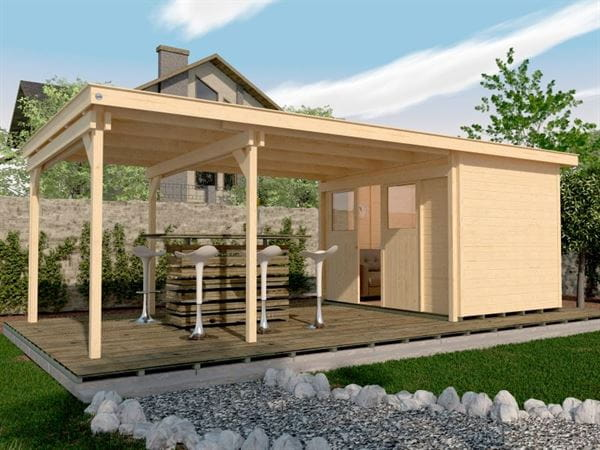 Weka Gartenhaus 225 Gr. 1 und Anbaudach 445 cm