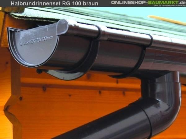Dachrinnen Set RG 100 braun 400 cm zweiseitig