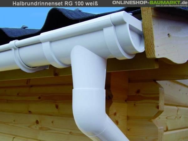 Dachrinnen Set RG 100 weiß 600 cm zweiseitig