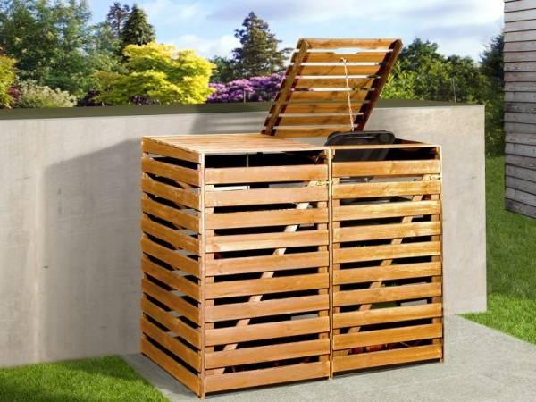 Weka Mülltonnenbox für 2 Tonnen in honigbraun